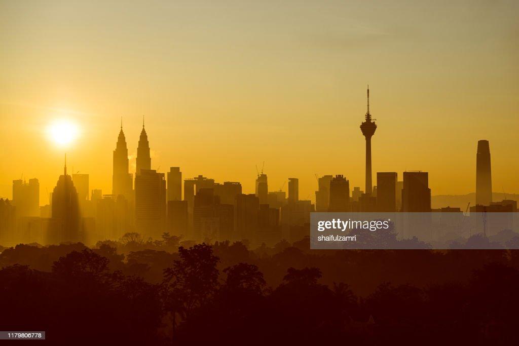 Majestic sunrise view over downtown Kuala Lumpur. : Stock Photo
