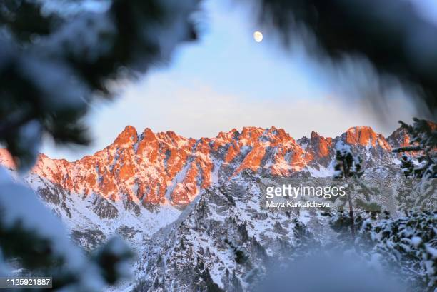 majestic sunset alpenglow on a mountain peaks with full moon in background - pirin national park stock pictures, royalty-free photos & images