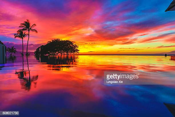 Majestic Sunset and Reflection at Wailea Beach, Maui, Hawaii