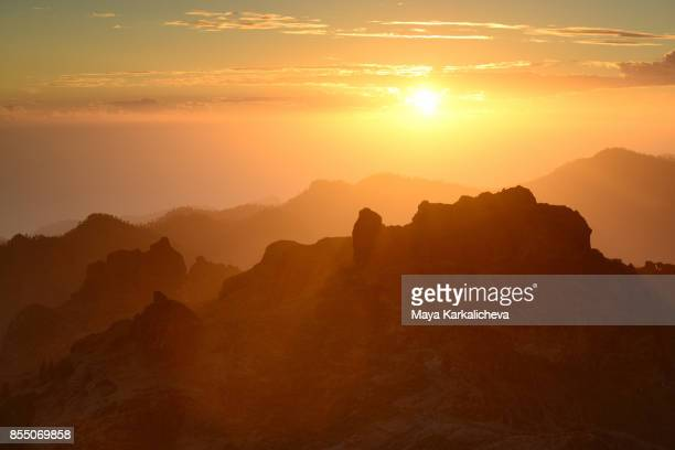 Majestic sunset from Canary islands