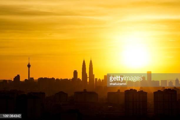 Majestic sunset in downtown Kuala Lumpur, Malaysia.