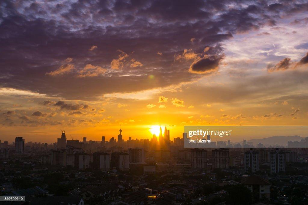 Majestic sunset over downtown Kuala Lumpur, Malaysia : Stock Photo