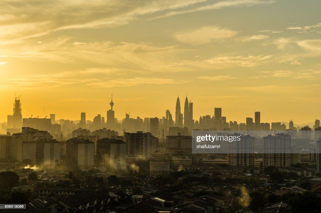 Majestic sunset over silhouette of downtown Kuala Lumpur, Malaysia : Stock Photo