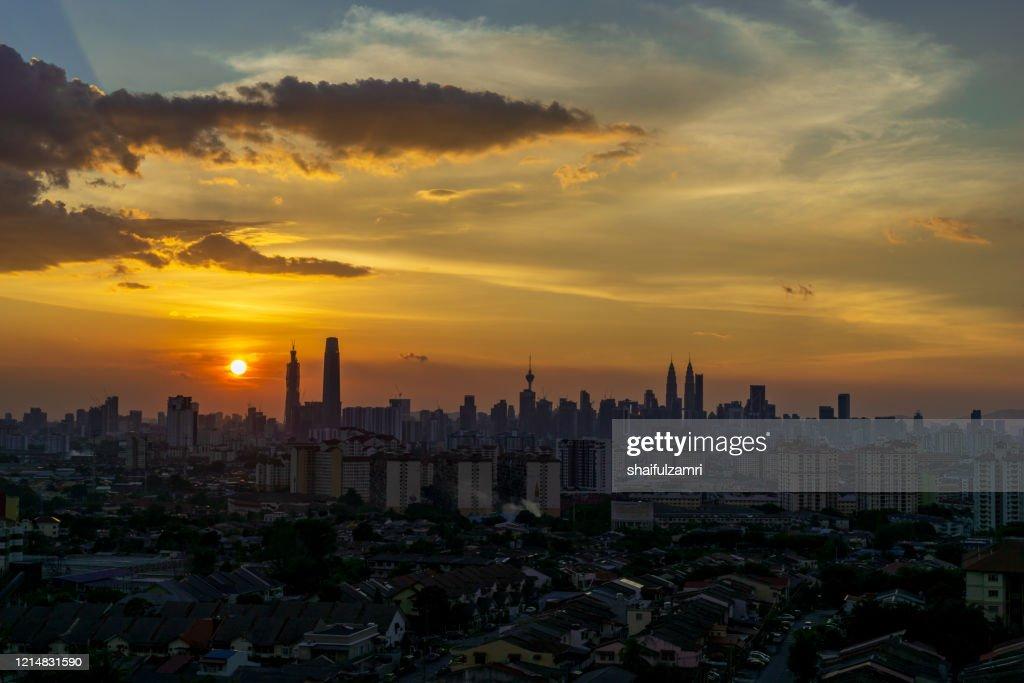 Majestic sunset view over down town Kuala Lumpur, Malaysia. : Stock Photo