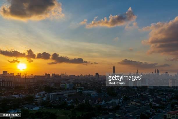 Majestic sunset view over downtown Kuala Lumpur, Malaysia.