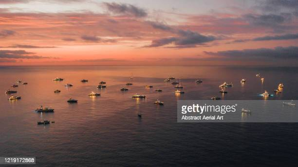 majestic sunset view showing a group of super yachts moored in the bay, monaco - exhibition stock pictures, royalty-free photos & images