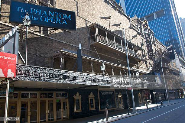 majestic theater, exterior in modern spanish style, home of 'phantom of the opera', on w. 44th street, new york, ny, usa - the phantom of the opera stock pictures, royalty-free photos & images