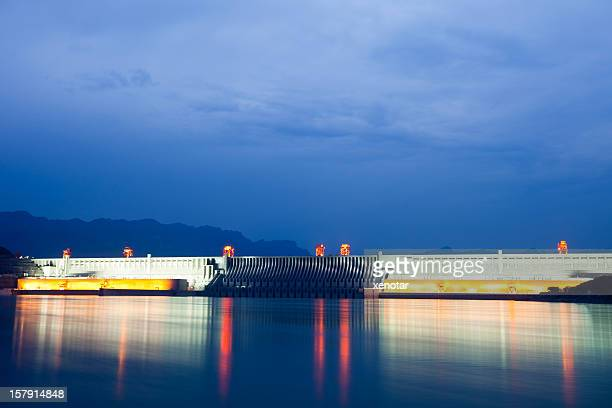 majestic three gorges dam all light on - dam china stock pictures, royalty-free photos & images