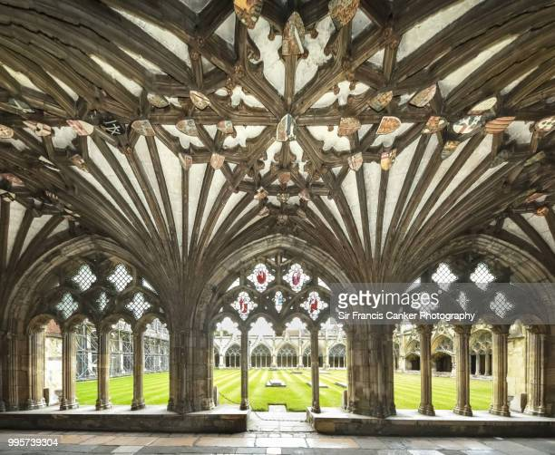 majestic tracery details in canterbury cathedral's gothic cloister in canterbury, kent, england, uk, a unesco heritage site - cloister stock pictures, royalty-free photos & images