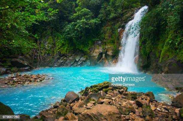 Majestic Turquoise Water Waterfall in Tropical Rainforest