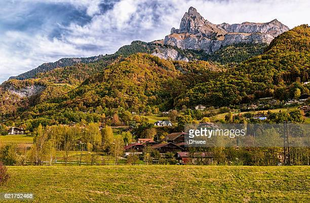 Majestic Varan Aiguille Or L'Aiguille de Varan 2544m In Autumn, Massif du Giffre, France
