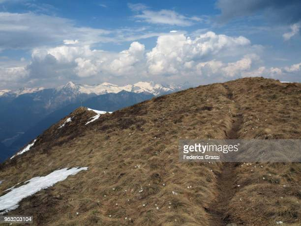 majestic view from the top of mount gambarogno - locarno stock photos and pictures