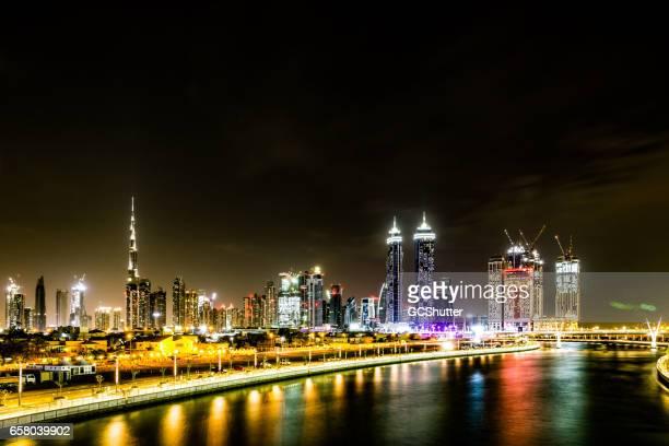 Majestic view of Dubai Downtown from Dubai Canal Bridge