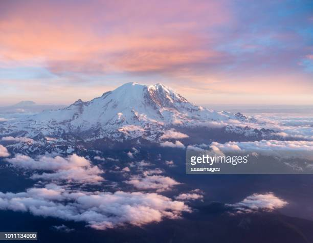 majestic view of Mount Rainier above clouds