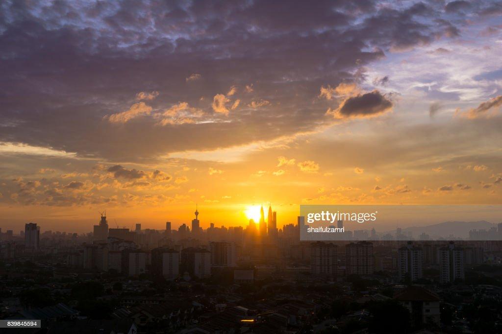 Majestic view of sunset over downtown Kuala Lumpur, Malaysia : Stock Photo