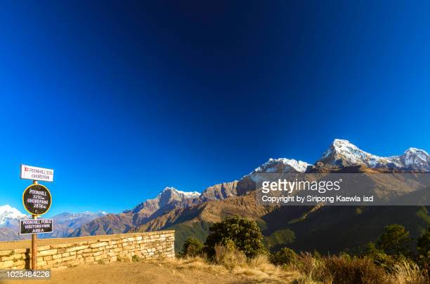 Majestic view of the Annapurna mountain range from Poon Hill viewpoint, Nepal.