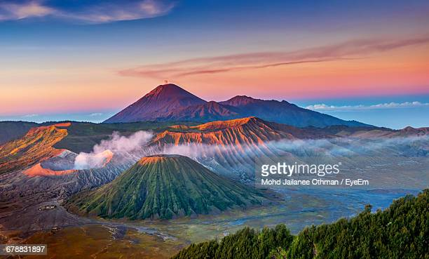 majestic volcanic landscape at sunset - mt bromo stock photos and pictures