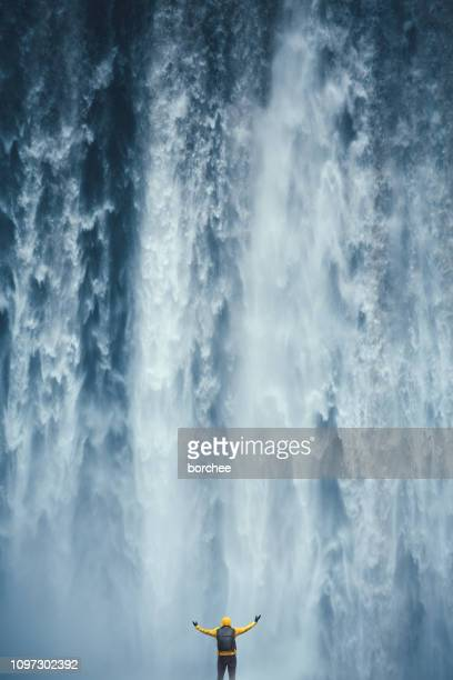 majestic waterfall - falling water stock photos and pictures