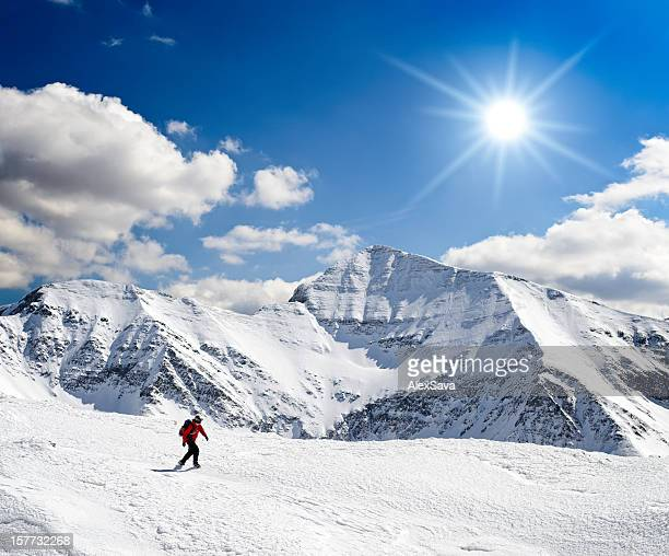 majestic winter landscape  in mountains - meribel stock photos and pictures