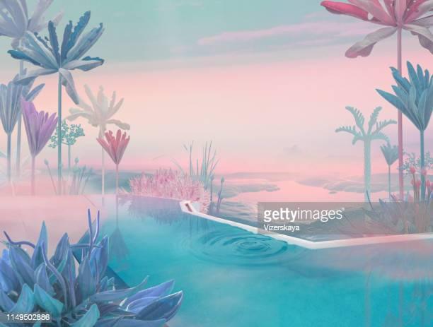 majestick pool - surrealista fotografías e imágenes de stock