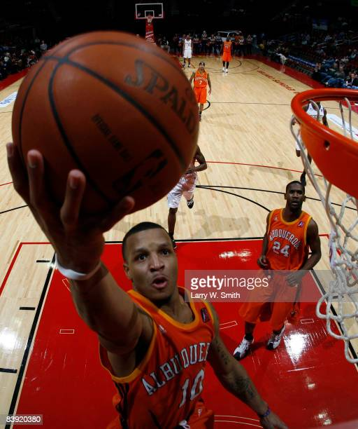 Majic Dorsey of the Albuquerque Thunderbirds goes up for a layup against the Iowa Energy on December 04 2008 at Wells Fargo Arena in Des Moines Iowa...