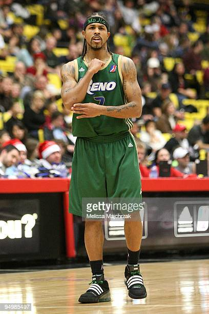 Majic Dorsey of the Reno Bighorns takes a break from the action during the D-League game against the Utah Flash on December 11, 2009 at the McKay...