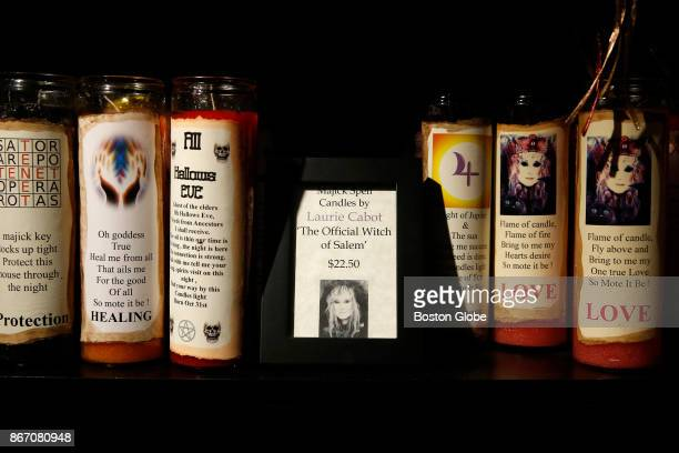 Majick Spell Candles made by Laurie Cabot are pictured for sale in Enchanted an authentic Witch shop in Salem MA on Oct 25 2017 Cabot is the most...