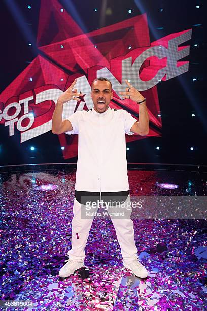 Majid celebrates during the final of the tv show 'Got to Dance' on August 14, 2014 in Cologne, Germany.
