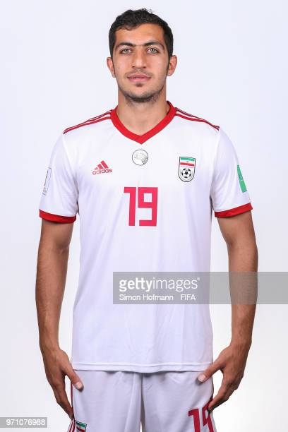Majid Hosseini of Iran poses during the official FIFA World Cup 2018 portrait session at Bakovka Training Base on June 9 2018 in Moscow Russia