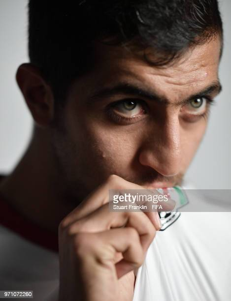 Majid Hosseini of Iran poses for a picture during the official FIFA World Cup 2018 portrait session at on June 9 2018 in Moscow Russia