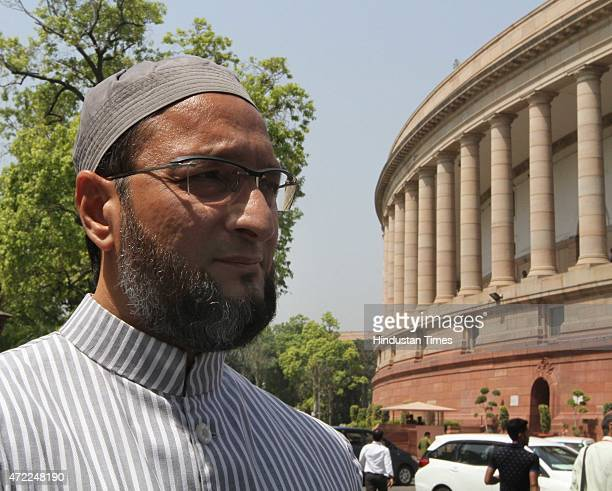 MajliseIttehadul Muslimeen president and Hyderabad MP Asaduddin Owaisi at Parliament House on May 5 2015 in New Delhi India Parliament on Tuesday...