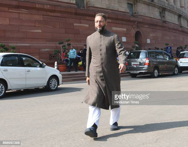 MajliseIttehadul Muslimeen president and Lok Sabha member Asaduddin Owaisi after attending Parliament Winter Session on December 27 2017 in New Delhi...