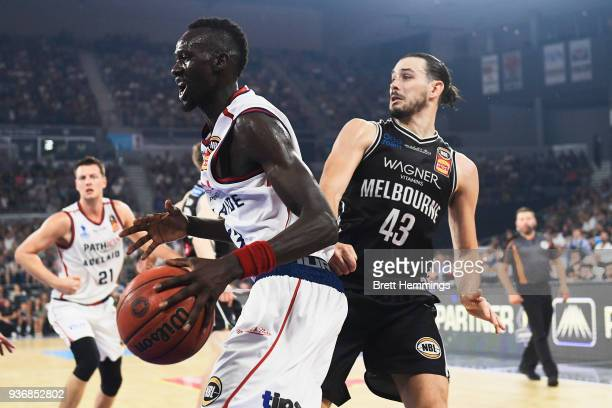 Majok Deng of the 36ers drives towards the basket during game three of the Grand Final series between Melbourne United and the Adelaide 36ers at...