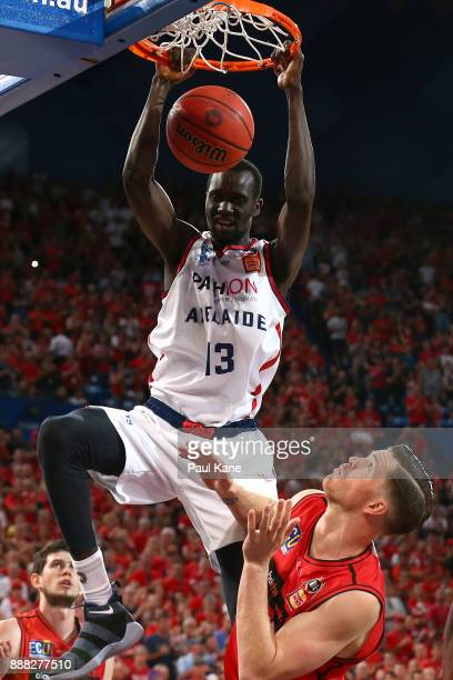 Majok Deng of the 36ers dunks the ball during the round nine NBL match between the Perth Wildcats and the Adelaide 36ers at Perth Arena on December 8...