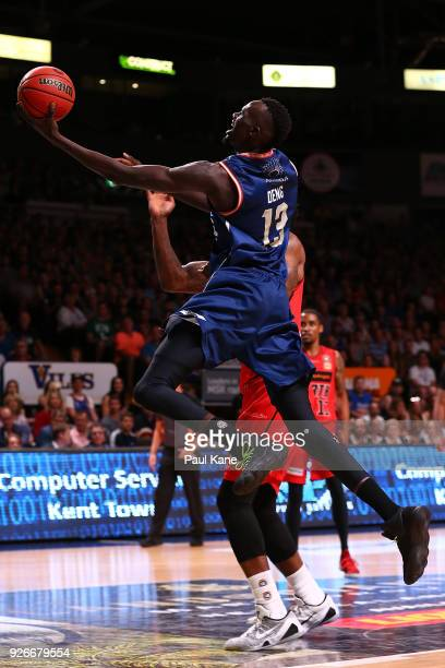 Majok Deng of the 36ers lays up during game one of the Semi Final series between the Adelaide 36ers and the Perth Wildcats at Titanium Security Arena...