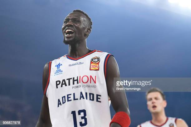 Majok Deng of the 36ers reacts during game three of the Grand Final series between Melbourne United and the Adelaide 36ers at Hisense Arena on March...