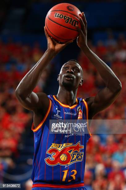 Majok Deng of the 36ers shoots a free throw during the round 17 NBL match between the Perth Wildcats and the Adelaide 36ers at Perth Arena on...