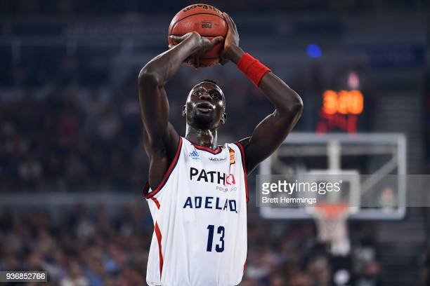 Majok Deng of the 36ers shoots during game three of the Grand Final series between Melbourne United and the Adelaide 36ers at Hisense Arena on March...