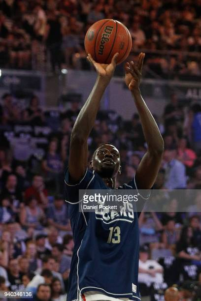 Majok Deng of the 36ers warms up before during game five of the NBL Grand Final series between Melbourne United and the Adelaide 36ers at Hisense...