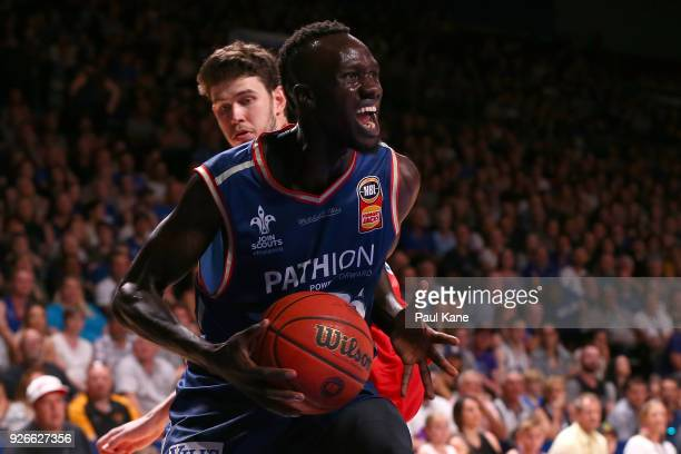 Majok Deng of the 36ers works to the basket during game one of the Semi Final series between the Adelaide 36ers and the Perth Wildcats at Titanium...