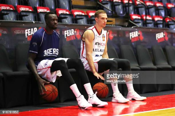 Majok Deng of the Adelaide 36ers and Brendan Teys of the 36ers during warm up before the round 18 NBL match between the Illawarra Hawks and the...