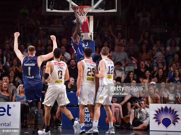 Majok Deng of the Adelaide 36ers dunks during the round 19 NBL match between the Adelaide 36ers and the Brisbane Bullets at Titanium Security Arena...