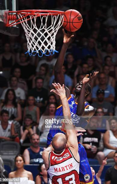 Majok Deng of the Adelaide 36ers makes a basket during the round 15 NBL match between the Adelaide 36ers and the Illawarra Hawks at Titanium Security...
