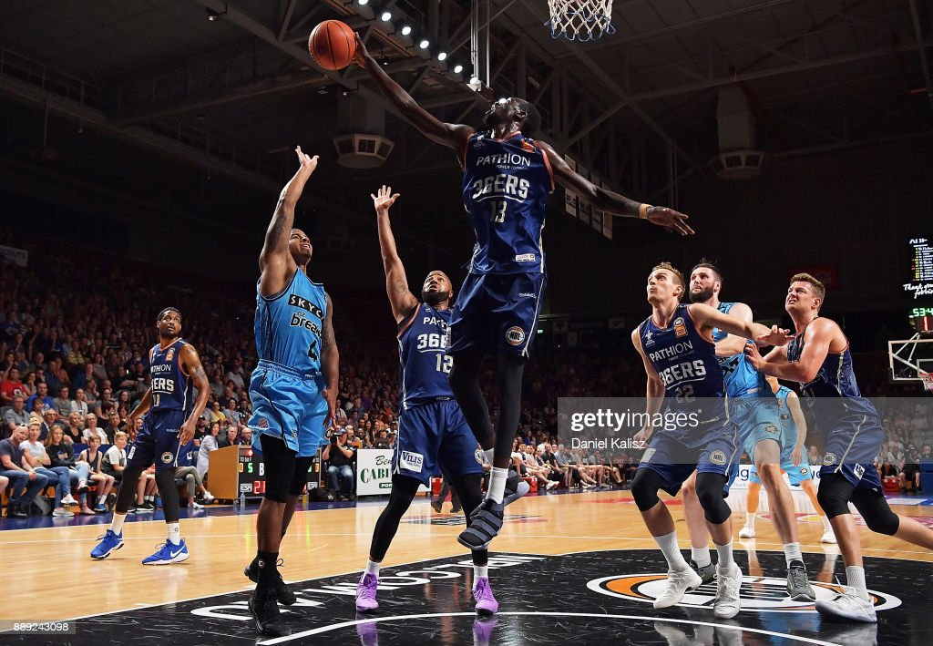 Majok Deng of the Adelaide 36ers rejects Edgar Sosa of the New Zealand Breakers during the round nine NBL match between the Adelaide 36ers and the New Zealand Breakers at Titanium Security Arena on December 10, 2017 in Adelaide, Australia.