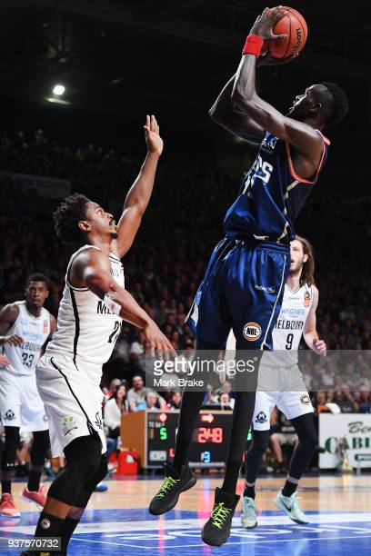Majok Deng of the Adelaide 36ers shoots during game four of the NBL Grand Final series between the Adelaide 36ers and Melbourne United at Priceline...