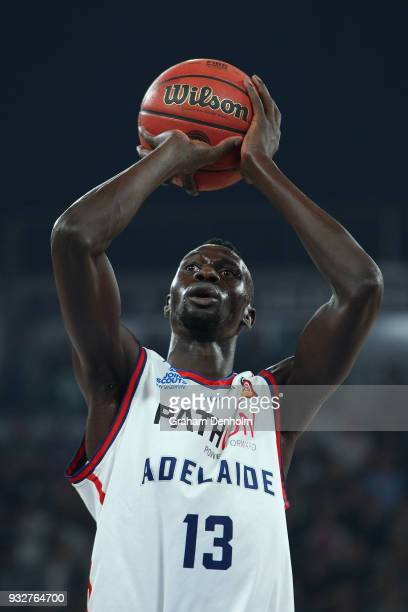 Majok Deng of the Adelaide 36ers shoots during game one of the NBL Grand Final series between Melbourne United and the Adelaide 36ers at Hisense...
