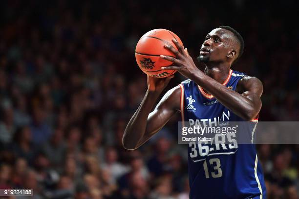 Majok Deng of the Adelaide 36ers shoots during the round 19 NBL match between the Adelaide 36ers and the Brisbane Bullets at Titanium Security Arena...