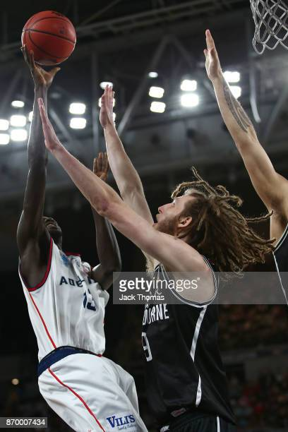 Majok Deng of the Adelaide 36ers shoots during the round five NBL match between Melbourne United and the Adelaide 36ers at Hisense Arena on November...