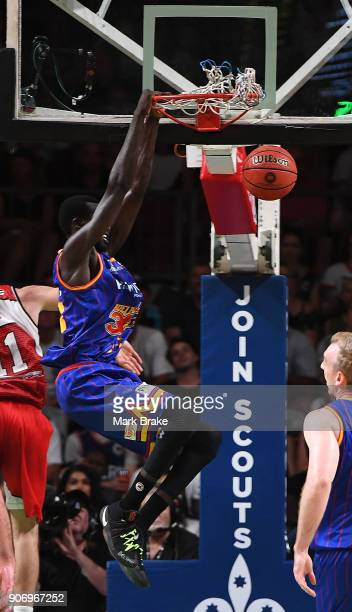 Majok Deng of the Adelaide 36ers slams during the round 15 NBL match between the Adelaide 36ers and the Illawarra Hawks at Titanium Security Arena on...