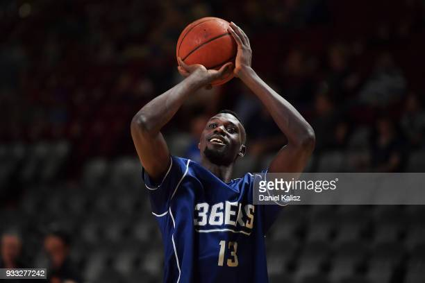 Majok Deng of the Adelaide 36ers warms up prior to game two of the NBL Grand Final series between the Adelaide 36ers and Melbourne United at Titanium...